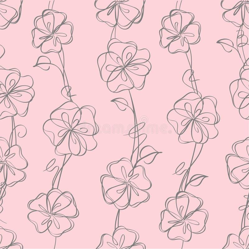 blom- seamless white för bakgrund royaltyfri illustrationer