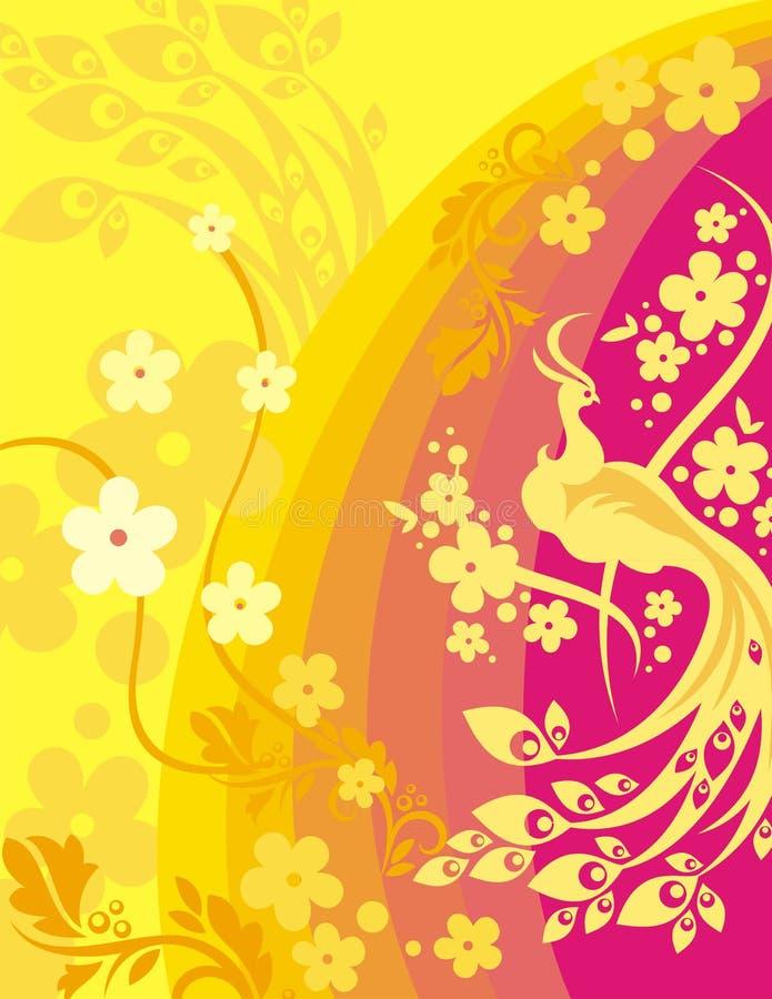 blom- serie för bakgrundsfågel stock illustrationer