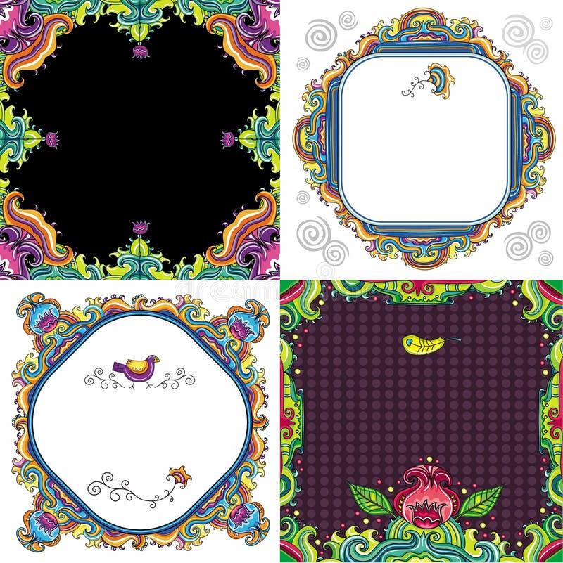 blom- serieset för abstrakt bakgrund vektor illustrationer