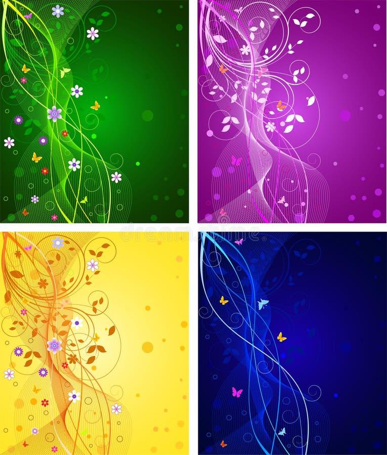 blom- set för abstrakt bakgrunder vektor illustrationer