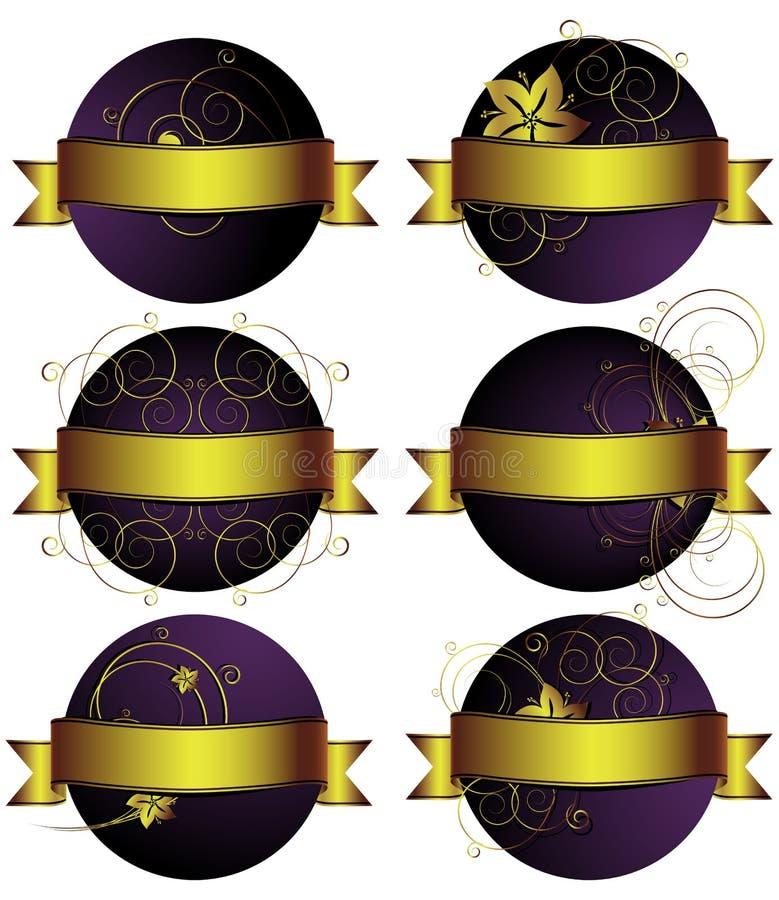 blom- set för bakgrunder stock illustrationer