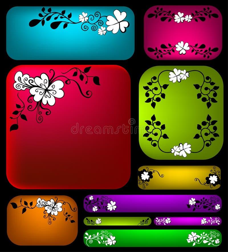 blom- set för baner royaltyfri illustrationer