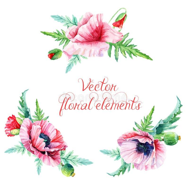 blom- set för designelement vektor illustrationer