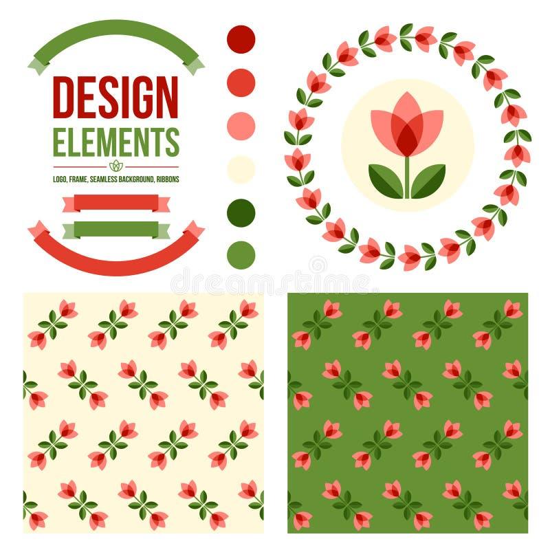blom- set för designelement stock illustrationer