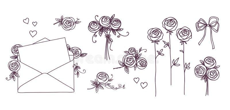 blom- set för designelement Hjärta för blommafilialkransar E Begrepp för dag för bröllopfödelsedagvalentin stock illustrationer