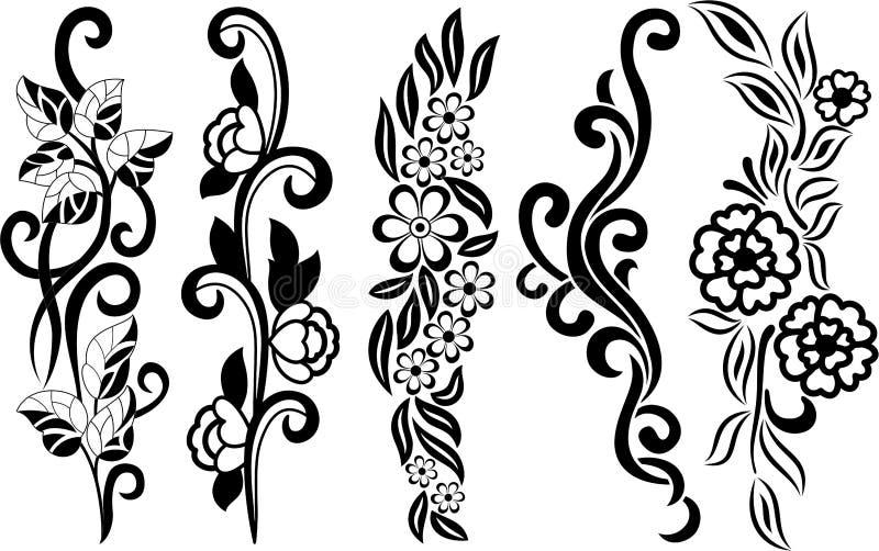 blom- set för element vektor illustrationer