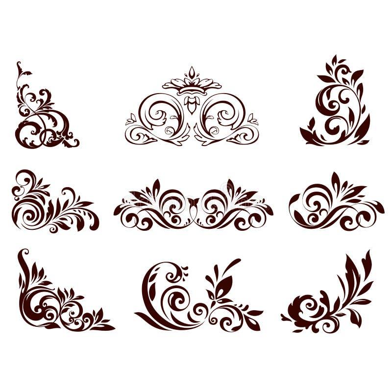 blom- set för element royaltyfri illustrationer