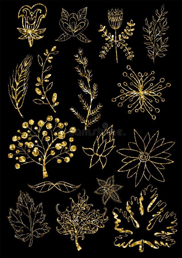 blom- settappning för element Vektorgarneringsamling Hand dragen blommor, sidor och sidadekor stock illustrationer