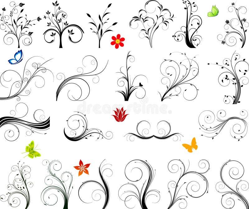 blom- setvektor för element royaltyfri illustrationer