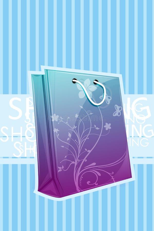 blom- shopping för påse stock illustrationer