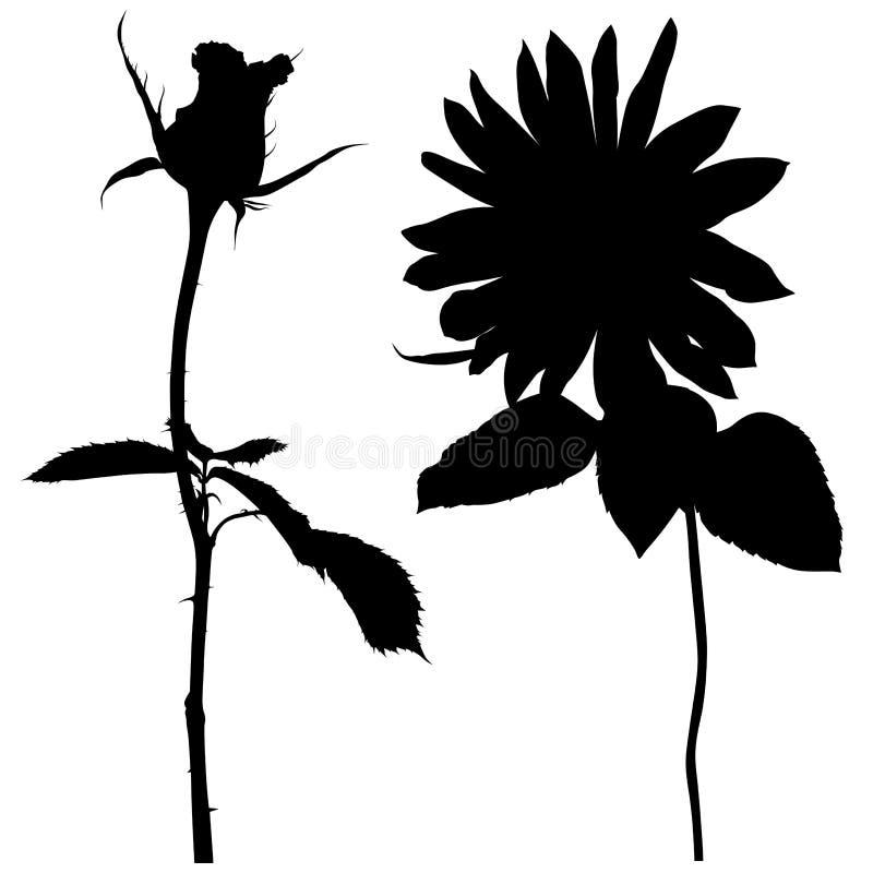 blom- silhouette 02 royaltyfri illustrationer
