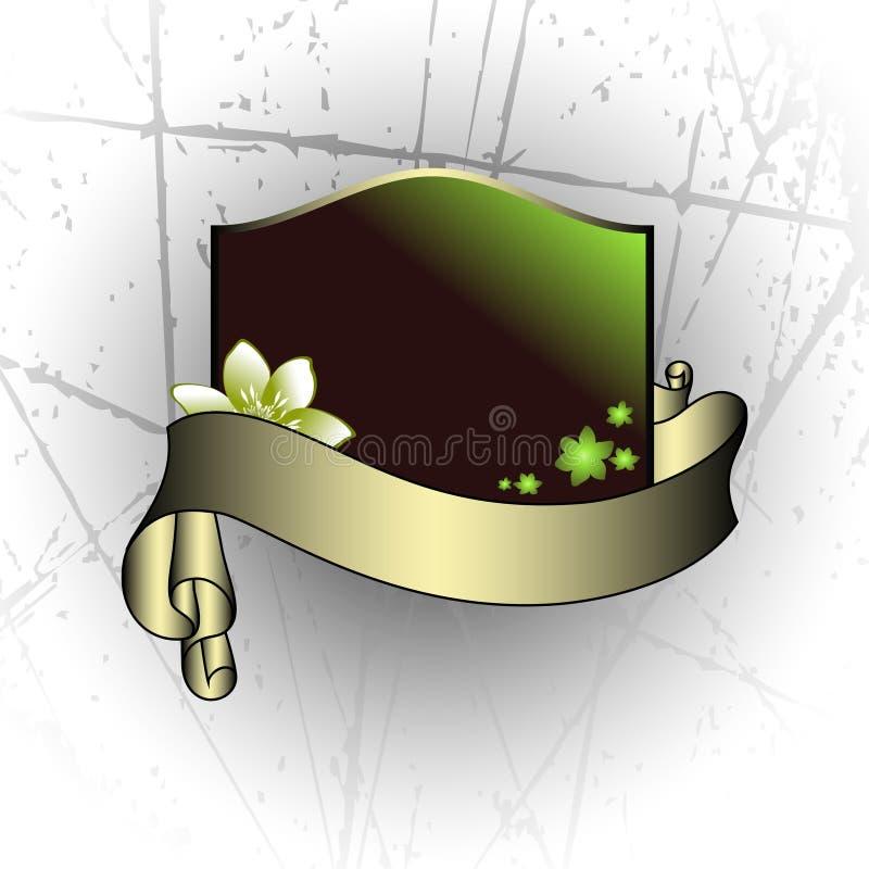 blom- sköld stock illustrationer