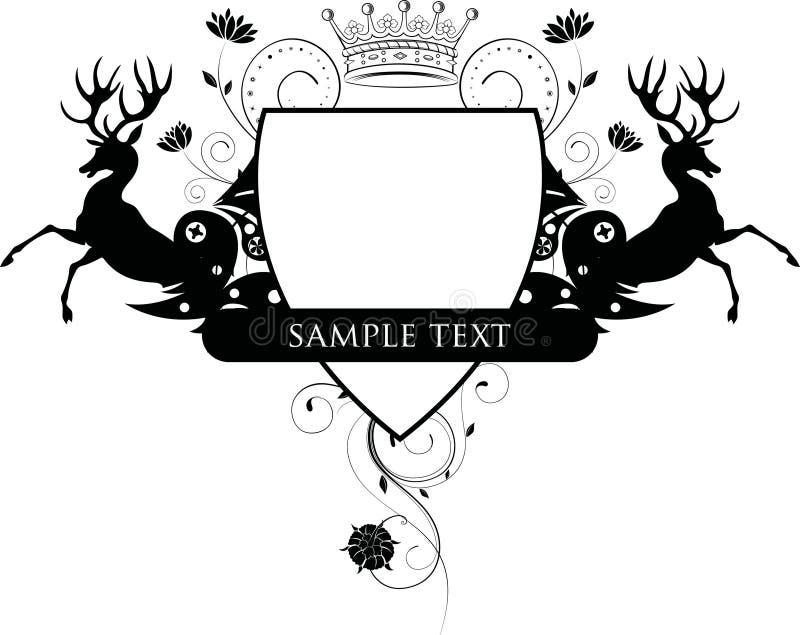 blom- sköld för hjortar royaltyfri illustrationer