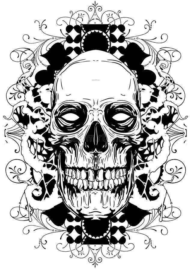 Blom- skalle stock illustrationer