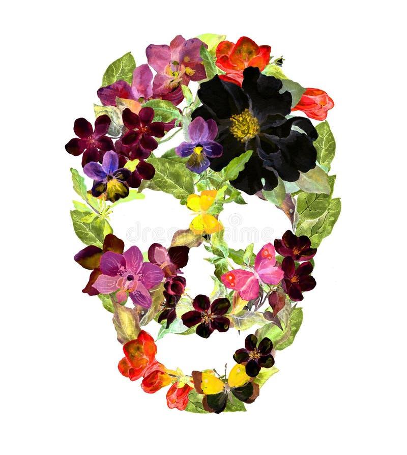 Download Blom- Skalle Med Tappningblommor Vattenfärgallhelgonaafton Arkivfoto - Bild av socker, skalle: 78729814