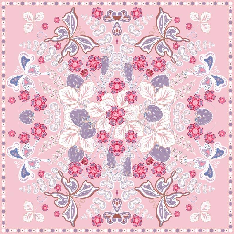 Blom- snör åt den utsmyckade bakgrunds-, jordgubbe- och fjärilsmodellen för dekorativ färg ramen Tryck för Bandannasjaltyg vektor illustrationer