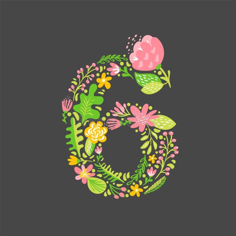 Blom- sommarnummer 6 sex Huvudgifta sig stora bokstavsalfabet f?r blomma F?rgrik stilsort med blommor och sidor ocks? vektor f?r  royaltyfri illustrationer