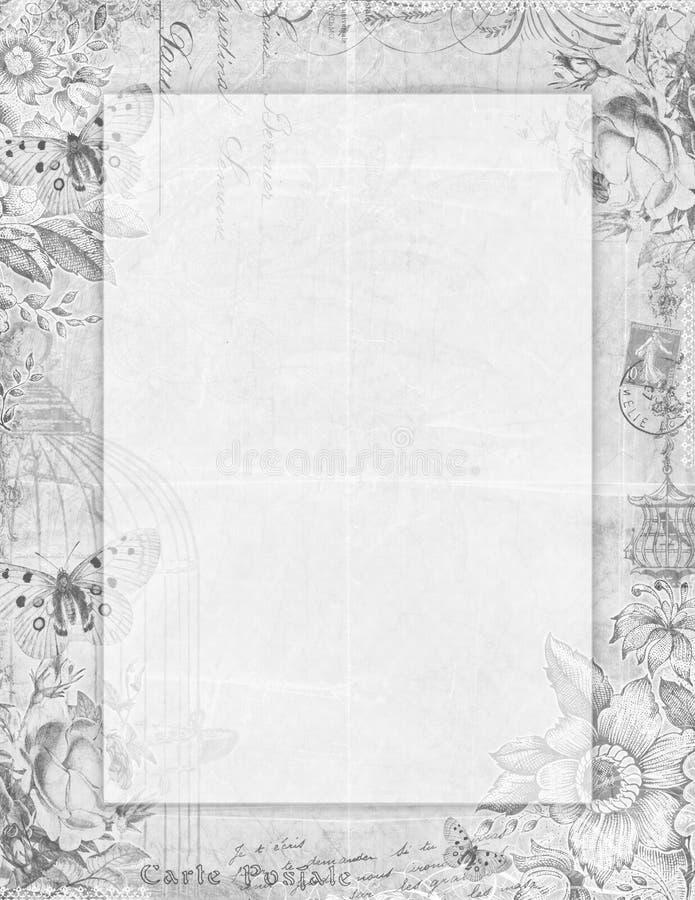 Blom- stationärt för tryckbar stil för tappning sjaskig chic med desaturated fjärilar - vektor illustrationer
