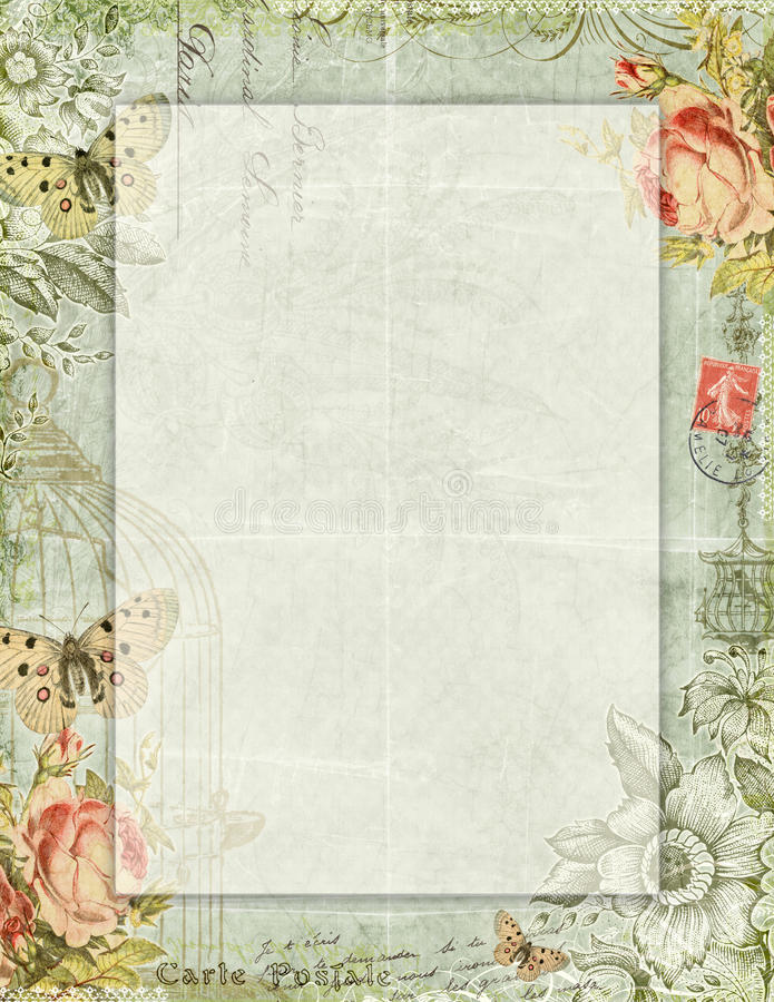 Blom- stationärt för tryckbar stil för tappning sjaskig chic med fjärilar vektor illustrationer