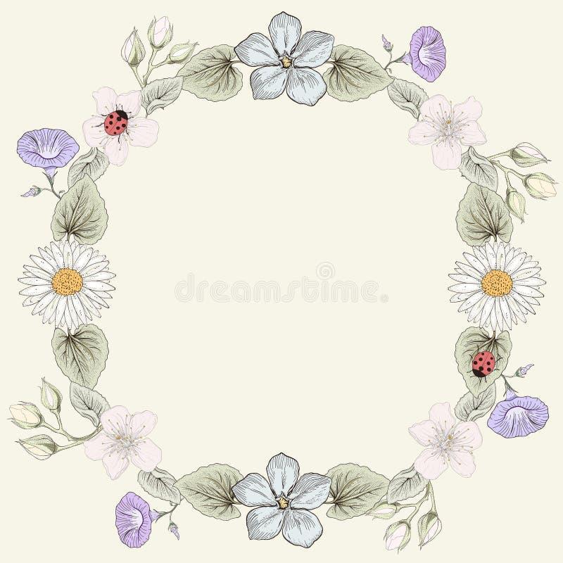 Blom- stil för ramtappninggravyr royaltyfri illustrationer