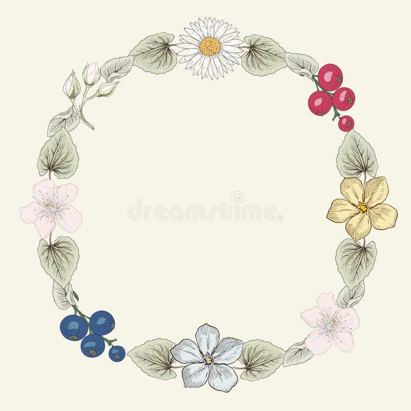 Blom- stil för ramtappninggravyr vektor illustrationer