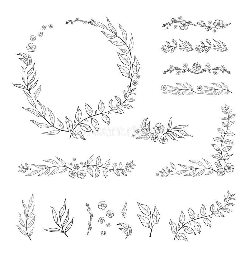 Blom- svartvit ramsamling i linjen stil Upps?ttning av ordnat FN f?r gulligt retro blad en form av kransen royaltyfri illustrationer
