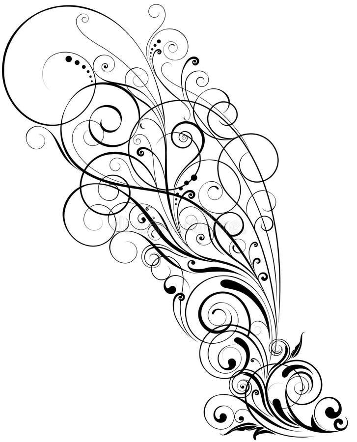 blom- swirl royaltyfri illustrationer