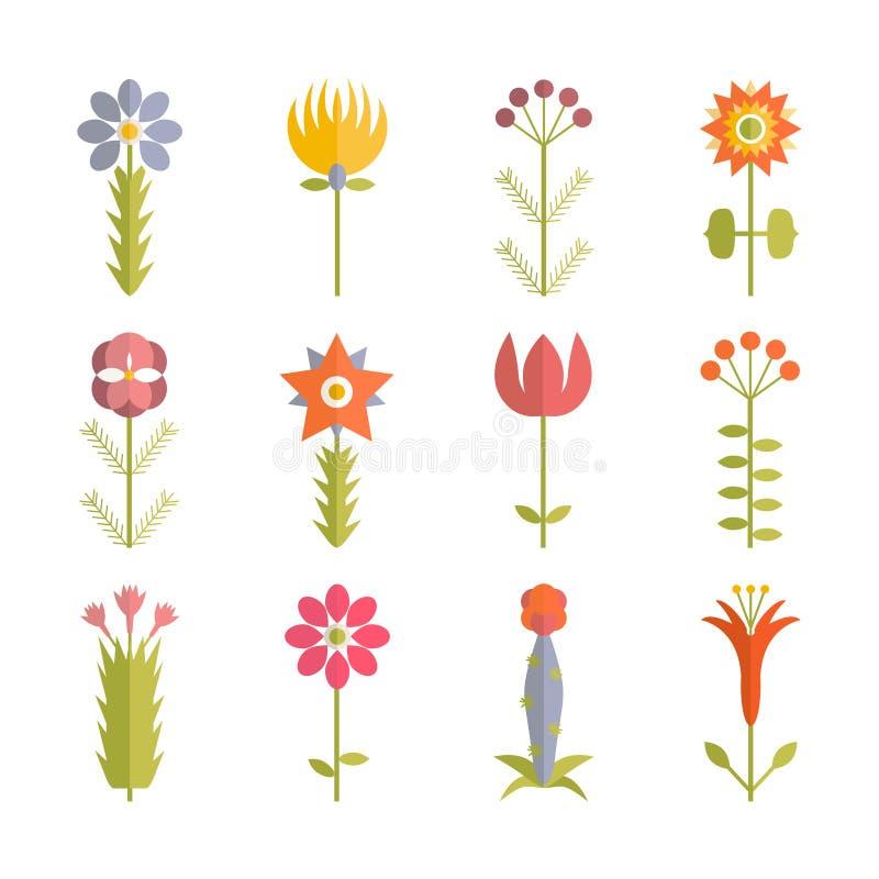 Blom- symbol vektor illustrationer