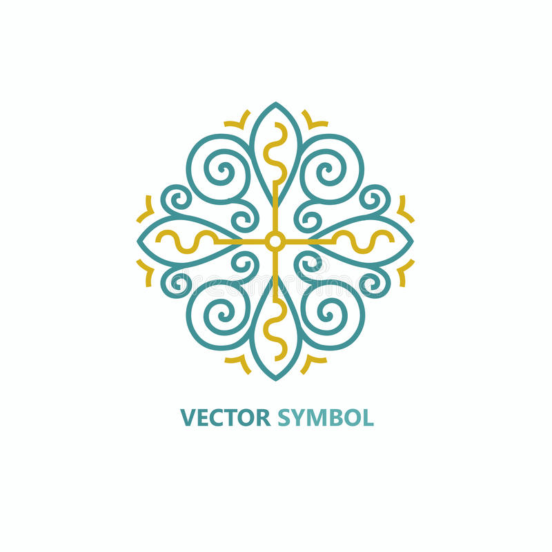 Blom- symbols- och logodesignmall för vektor i översiktsstil - abstrakt monogram royaltyfri illustrationer
