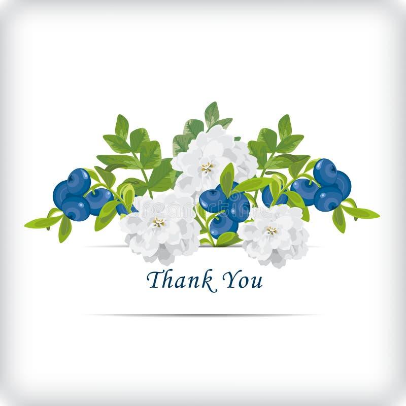 Blom- tacka dig att card med härliga realistiska vita blommor som är blåa vektor illustrationer
