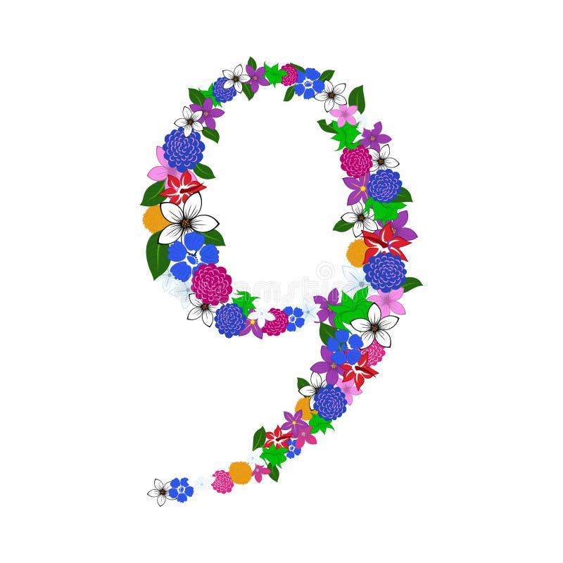 Blom- tal vektor illustrationer