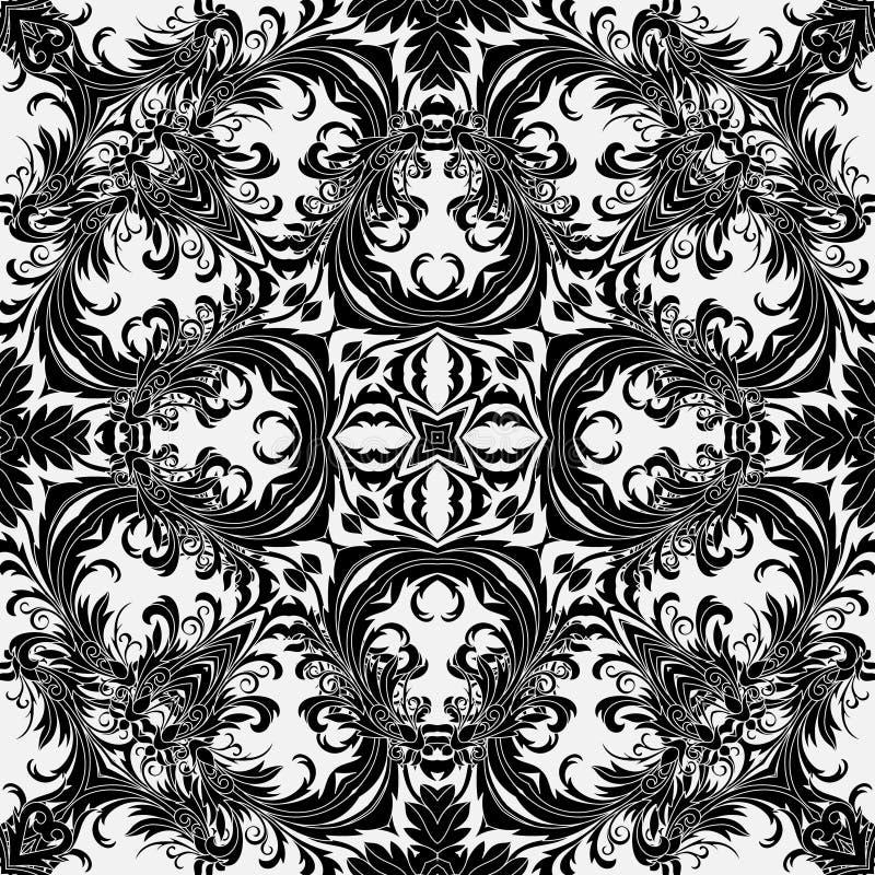 Blom- tapet för barock stil seamless vektor för modell Fyrkantig tegelplatta vektor illustrationer