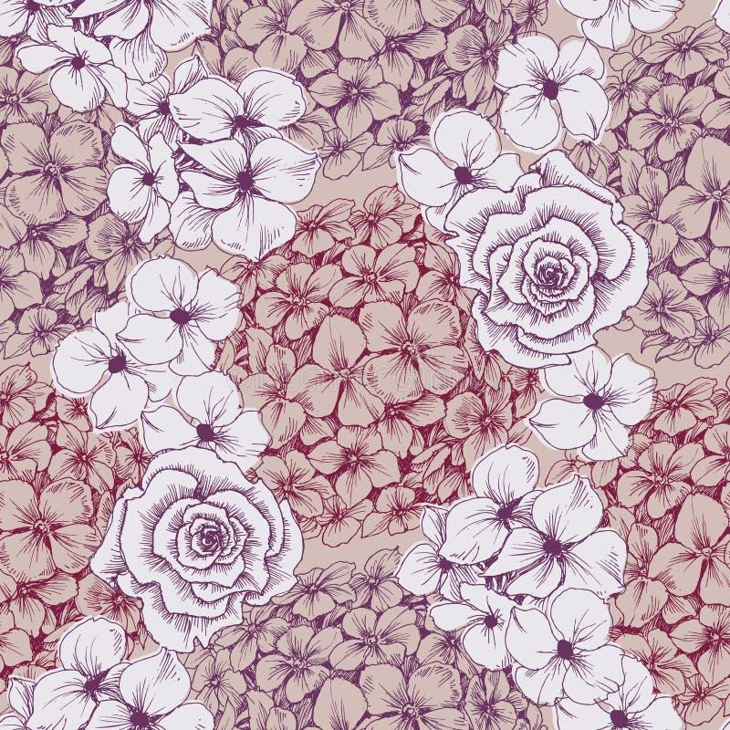 Blom- tapet för tappning Sömlös modell med vanliga hortensian och ro royaltyfri illustrationer