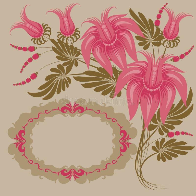 blom- tappning för design royaltyfri illustrationer