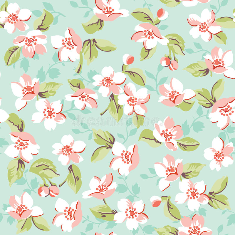 Blom- tappning och Cherry Background royaltyfri illustrationer