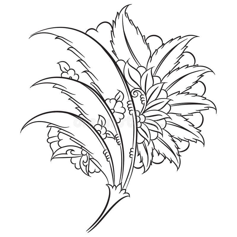 Blom- teckning för Iznik stil stock illustrationer