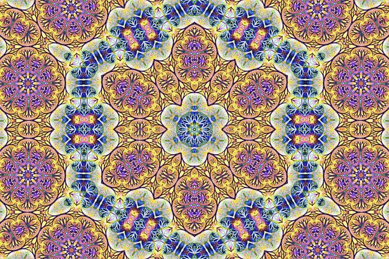 Blom- textur för abstrakt mosaik med den blåa prydnaden royaltyfri illustrationer