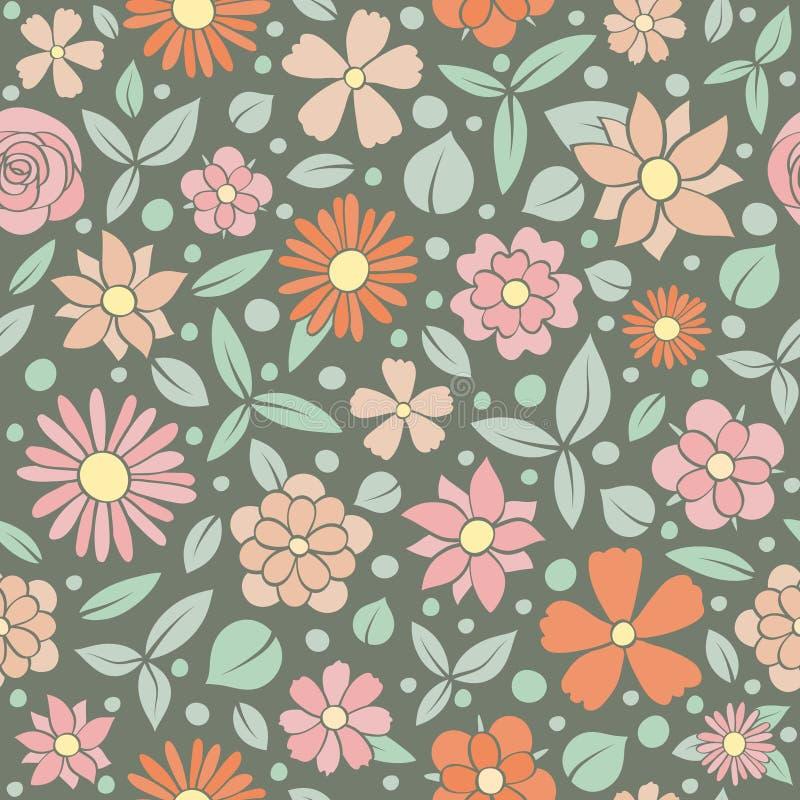 Blom- textur för tappning tecknad seamless blommahandmodell Dagen för ` s för dagen och för valentin fostra för dag-, kvinna` s f royaltyfri foto