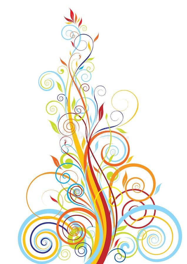 Blom- tillväxtfärgdesign stock illustrationer