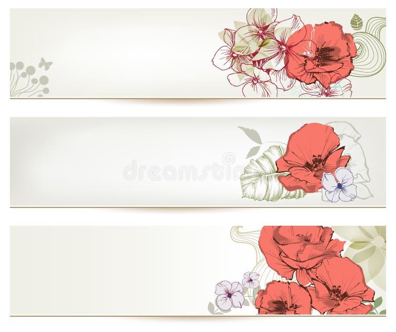 Blom- titelrader vektor illustrationer