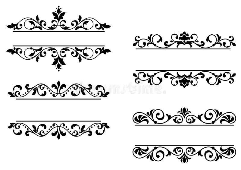 Blom- titelrader och gränsar vektor illustrationer