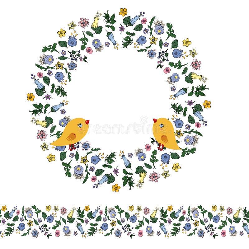 Blom- tova med konturblommor, i att klottra stil, f?glar och den s?ml?sa gr?nsen p? genomskinlig bakgrund vektor illustrationer