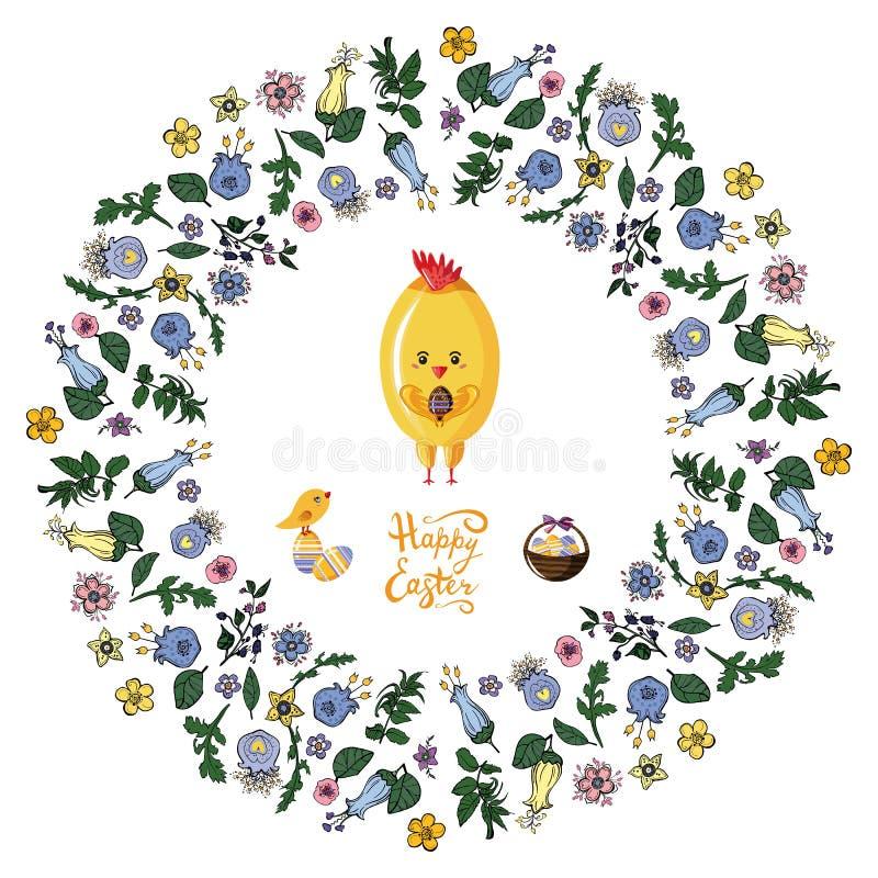 Blom- tovaram med h?na, f?geln, ?gg och korgen p? den genomskinliga bakgrunden royaltyfri illustrationer