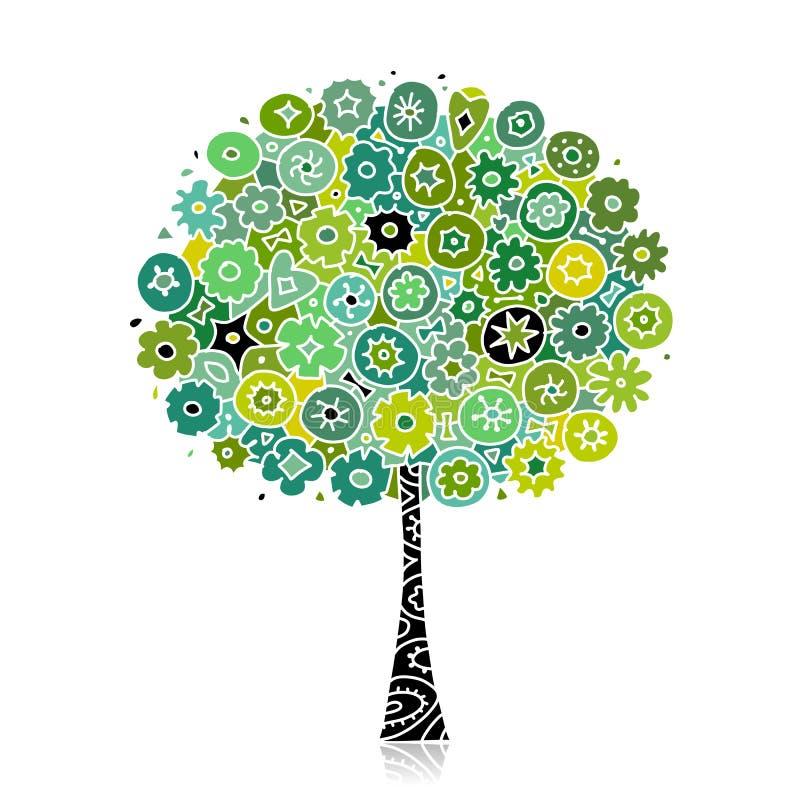 Blom- träd för din design royaltyfri illustrationer