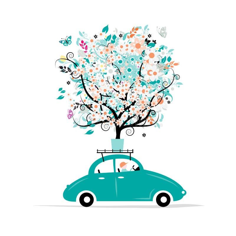 Blom- träd på biltaket stock illustrationer