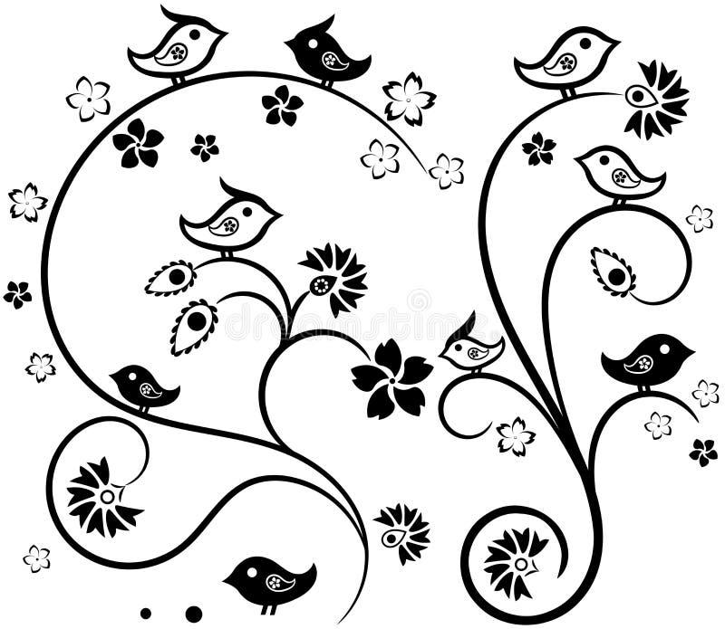 Blom- Tracery med fåglar stock illustrationer