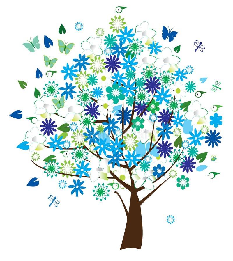 blom- tree stock illustrationer