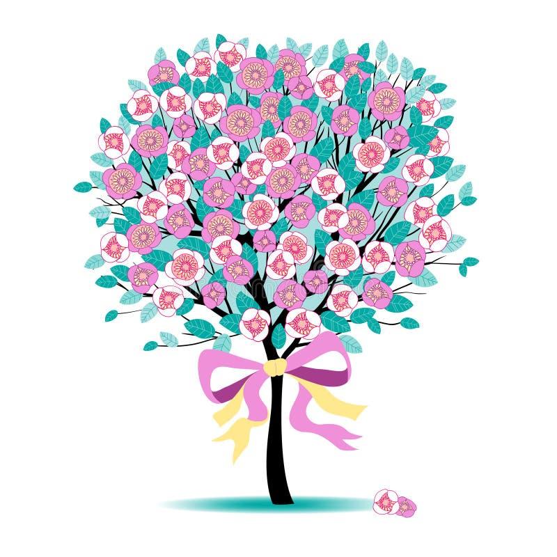 blom- tree royaltyfri illustrationer