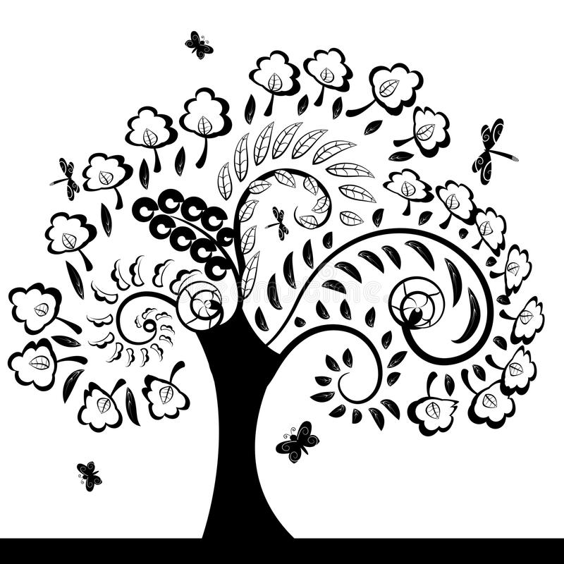 Blom- Tree stock illustrationer