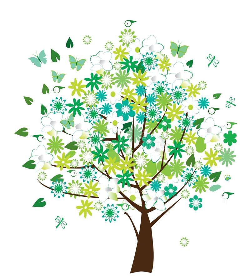 blom- treevektor royaltyfri illustrationer
